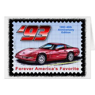 1993 40th årsdag Corvette Hälsningskort