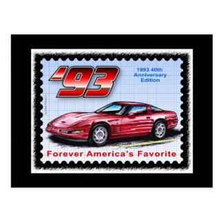 1993 40th årsdag Corvette Vykort