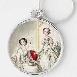 19th Århundradebröllop Rund Silverfärgad Nyckelring