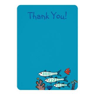 1, 2, fisk 3 med lite fisken och korall 12,7 x 17,8 cm inbjudningskort