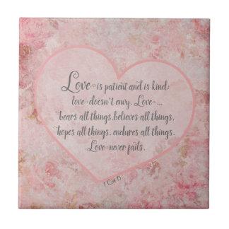 1 Cor 13 - kärlek är tålmodig kärlek är snäll Kakelplatta