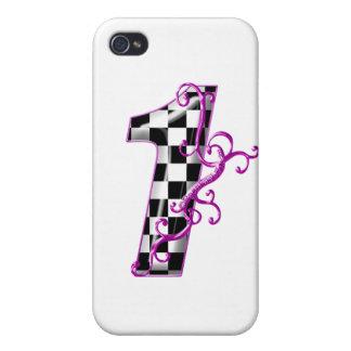 1 purpurfärgade tävling numrerar iPhone 4 fodral