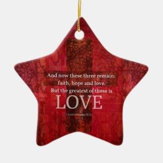 1 VERSE för Corinthians13:13BIBEL OM KÄRLEK Julgransprydnad Keramik