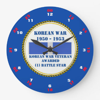 1 VETERAN FÖR KRIG FÖR STRIDSTJÄRNA KOREANSKA STOR RUND KLOCKA
