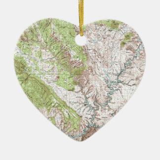 1 x 2 grad Topographic karta Julgransprydnad Keramik