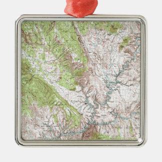 1 x 2 grad Topographic karta Julgransprydnad Metall