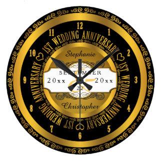 1st bröllopsdag för svart och guld- elegant stor klocka