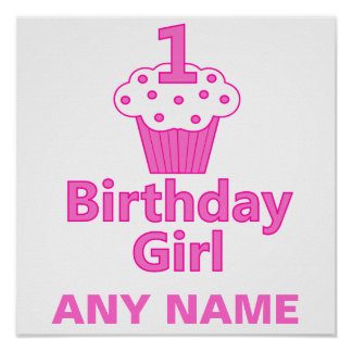 1st Design för födelsedagflickamuffin Posters