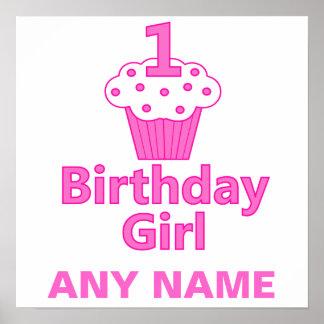 1st Design för födelsedagflickamuffin Poster