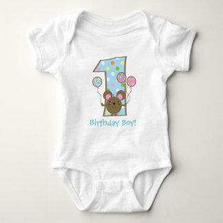 1st födelsedag för beställnings- ballongmusblått tshirts