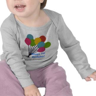 1st födelsedag för färgrik lycklig för ballonger ( t-shirts