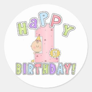1st födelsedag för flickalycklig rund klistermärke