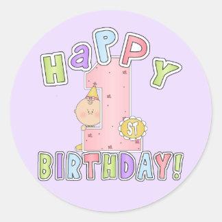 1st födelsedag för flickalycklig runt klistermärke