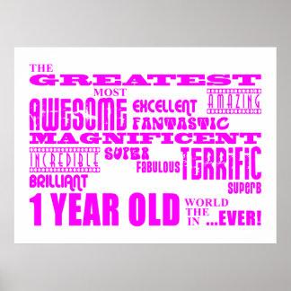 1st födelsedag för flickor Årig rosa största 1 Affischer