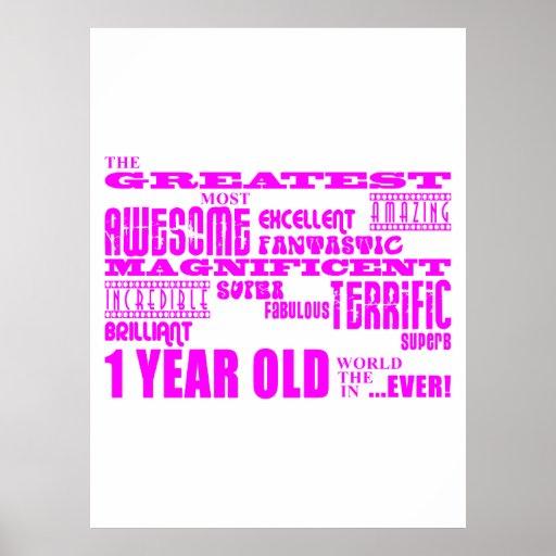 1st födelsedag för flickor: Årig rosa största 1 Affisch