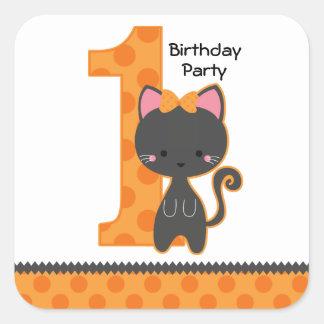 1st födelsedag för Halloween kattunge Klistermärken