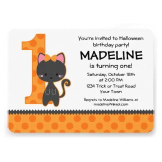 1st födelsedag för Halloween kattunge Personliga Tillkännagivanden