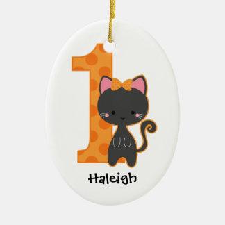 1st födelsedag för Halloween kattunge Julgransdekorationer