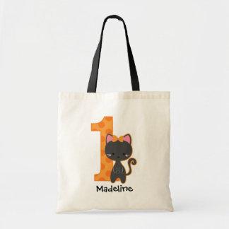 1st födelsedag för Halloween kattunge Tote Bags