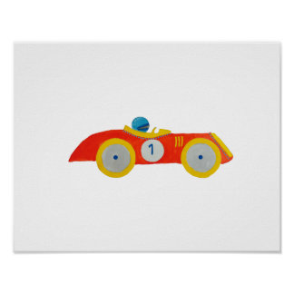 1st födelsedag för lite rött för Roadster barn för Poster