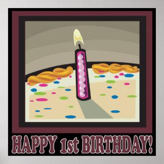 1st födelsedag för lycklig affischer