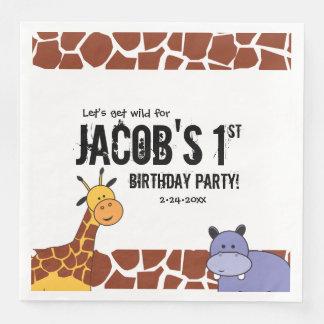 1st födelsedag för personligSafari, djungeltema Pappersservetter
