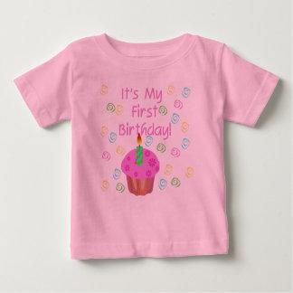 1st födelsedag för rosa muffin tee shirt