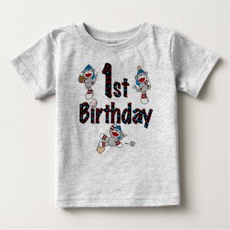 1st födelsedag för sock monkeybaseball t shirt