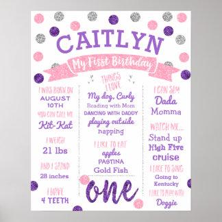 1st Födelsedag-, lila- och rosaglitter Poster
