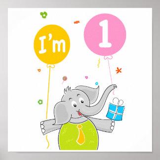 1st Födelsedag mig förmiddag 1 gammala år Poster