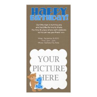 1st födelsedag - pojke - meddelande fotokort mall