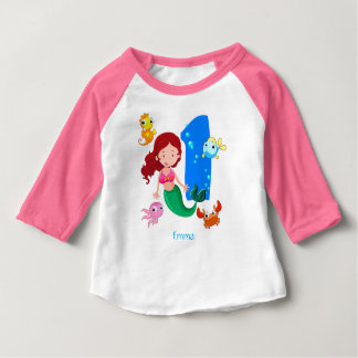 1st födelsedaganpassningsbar för sjöjungfru tshirts