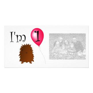 1st Födelsedagbigfoot röd ballong Fotokort