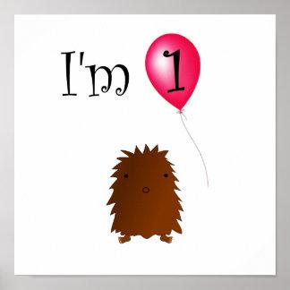 1st Födelsedagbigfoot röd ballong Poster
