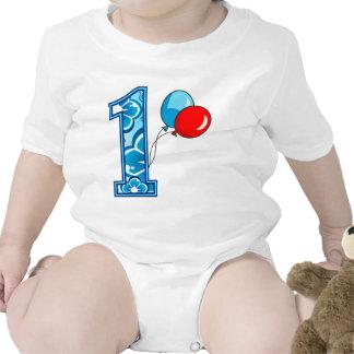 1st Födelsedagblommigt och ballonger Sparkdräkter