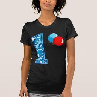 1st Födelsedagblommigt och ballonger T-shirt