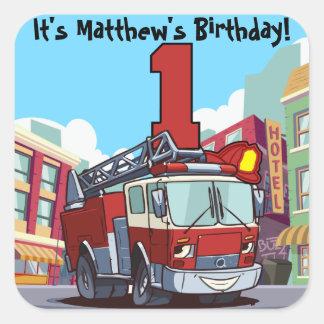 1st Födelsedagen avfyrar lastbilen Fyrkantigt Klistermärke