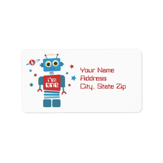 1st födelsedagetikett för robot adressetikett