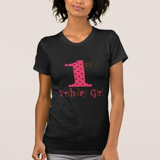 1st Födelsedagflickarosor och bruntpolkaen pricker Tee Shirts