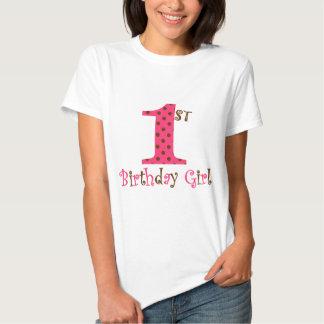1st Födelsedagflickarosor och bruntpolkaen pricker Tshirts