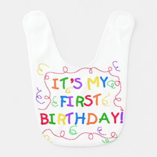 1st födelsedaghaklapp för färgrik text hakklapp