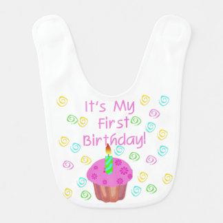 1st födelsedaghaklapp för rosa muffin hakklapp