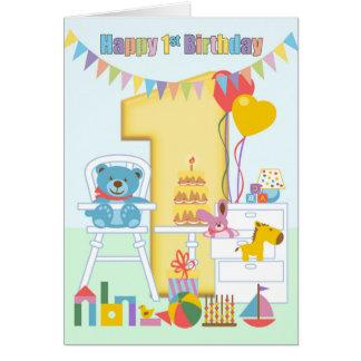 1st Födelsedaghälsningkort, första födelsedag för Hälsningskort