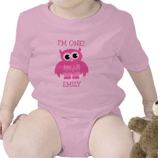 1st födelsedagjumpsuit för rosa uggla för flicka bodies