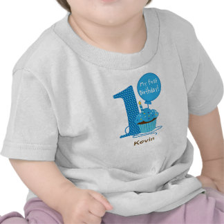 1st Födelsedagmuffinblått Tshirts