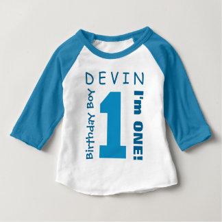 1st Födelsedagpojken en årsvitblått numrerar V01S T-shirt