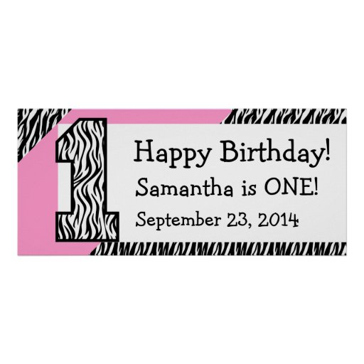 1st Födelsedagsebra med det rosa anpassningsbarnam Affisch