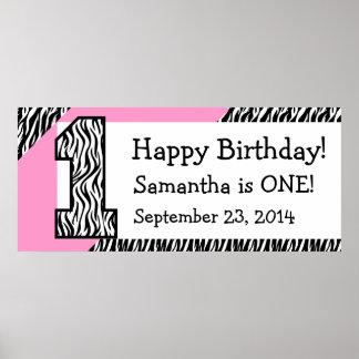 1st Födelsedagsebra med det rosa anpassningsbarnam Poster