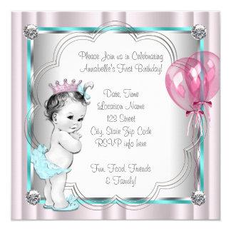 1st födelsedagsfest för flickor fyrkantigt 13,3 cm inbjudningskort