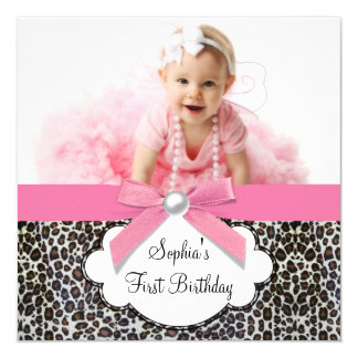 1st födelsedagsfest för rosa Leopardflickafoto Anpassade Tillkännagivande